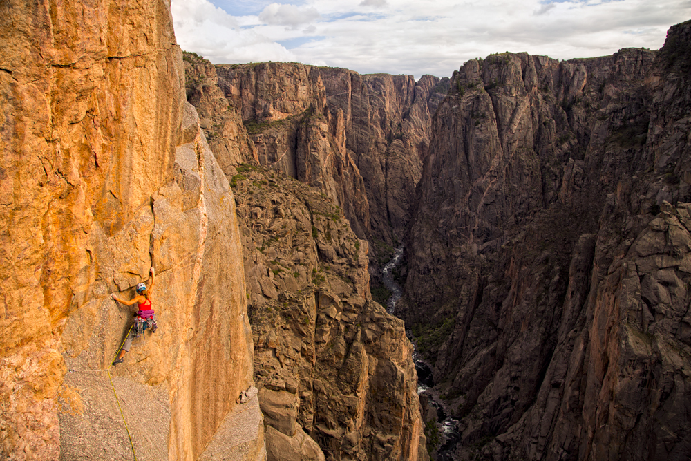 Kate Rutherford climbing in the Black Canyon of the Gunnison.